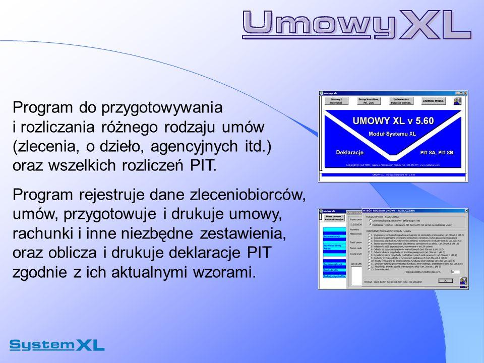 Program do przygotowywania i rozliczania różnego rodzaju umów (zlecenia, o dzieło, agencyjnych itd.) oraz wszelkich rozliczeń PIT. Program rejestruje