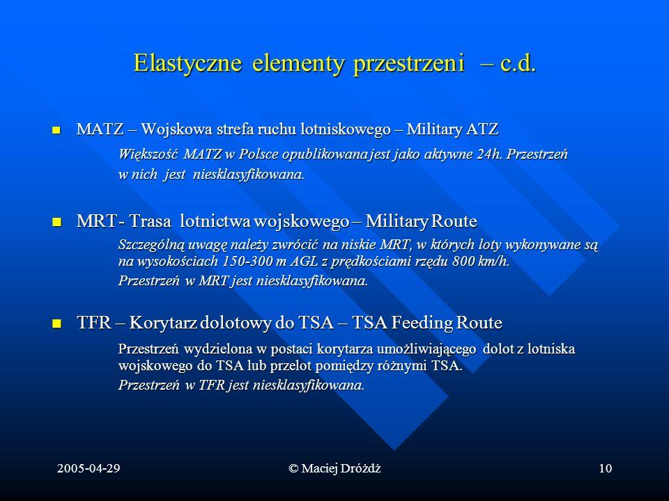 2005-04-29© Maciej Dróżdż10 Elastyczne elementy przestrzeni – c.d. MATZ – Wojskowa strefa ruchu lotniskowego – Military ATZ MATZ – Wojskowa strefa ruc
