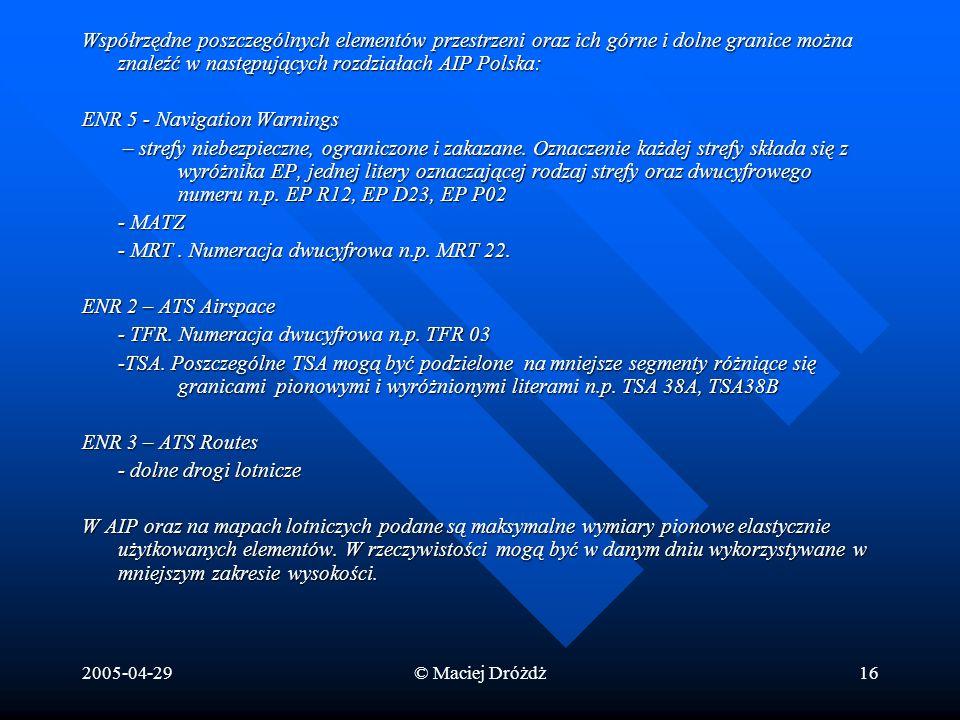 2005-04-29© Maciej Dróżdż16 Współrzędne poszczególnych elementów przestrzeni oraz ich górne i dolne granice można znaleźć w następujących rozdziałach