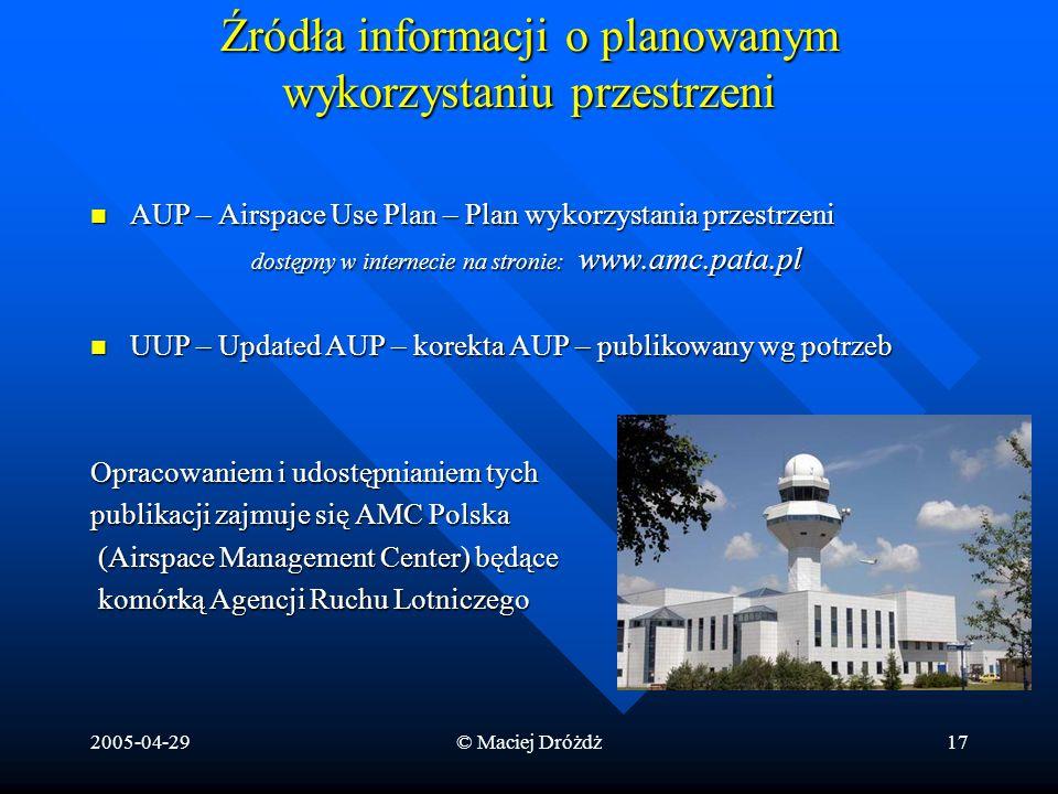 2005-04-29© Maciej Dróżdż17 Źródła informacji o planowanym wykorzystaniu przestrzeni AUP – Airspace Use Plan – Plan wykorzystania przestrzeni AUP – Ai