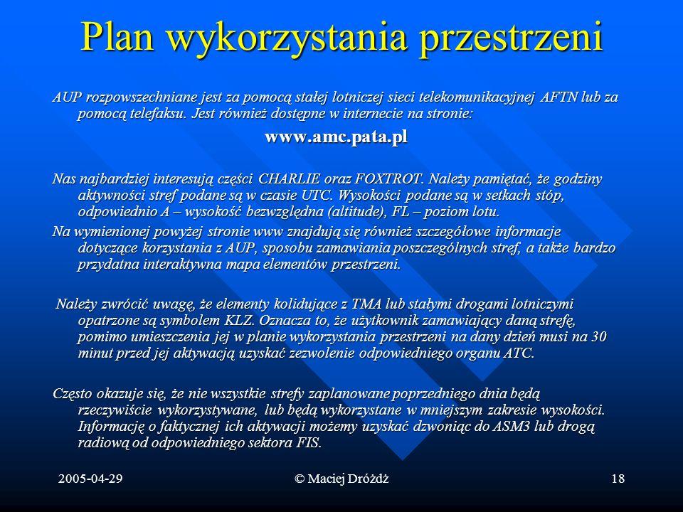 2005-04-29© Maciej Dróżdż18 Plan wykorzystania przestrzeni AUP rozpowszechniane jest za pomocą stałej lotniczej sieci telekomunikacyjnej AFTN lub za p