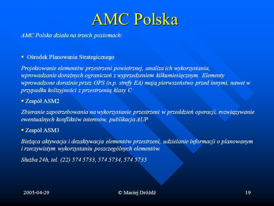 2005-04-29© Maciej Dróżdż19 AMC Polska AMC Polska działa na trzech poziomach: Ośrodek Planowania Strategicznego Projektowanie elementów przestrzeni po