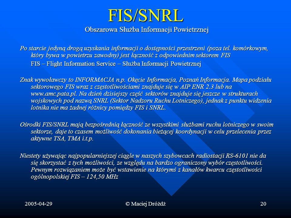 2005-04-29© Maciej Dróżdż20FIS/SNRL Obszarowa Służba Informacji Powietrznej Po starcie jedyną drogą uzyskania informacji o dostępności przestrzeni (po