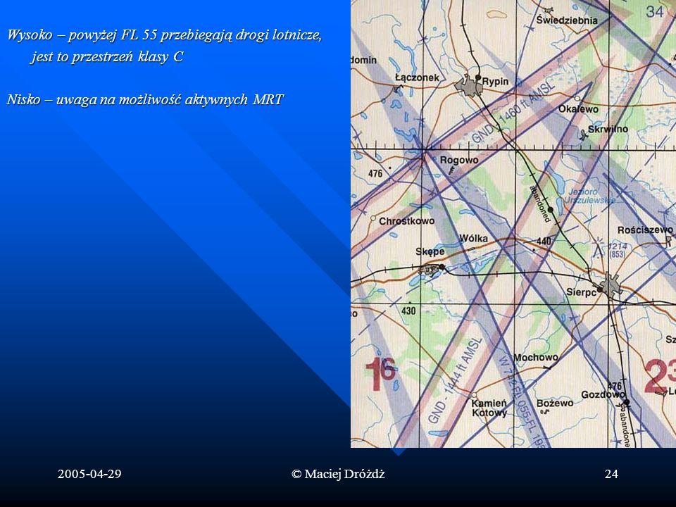 2005-04-29© Maciej Dróżdż24 Wysoko – powyżej FL 55 przebiegają drogi lotnicze, jest to przestrzeń klasy C Nisko – uwaga na możliwość aktywnych MRT