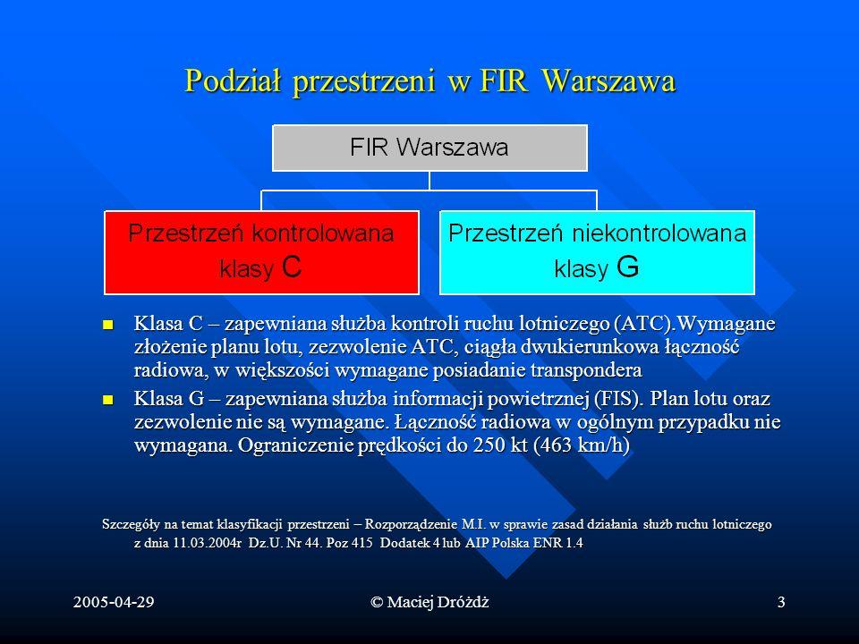 2005-04-29© Maciej Dróżdż3 Podział przestrzeni w FIR Warszawa Klasa C – zapewniana służba kontroli ruchu lotniczego (ATC).Wymagane złożenie planu lotu