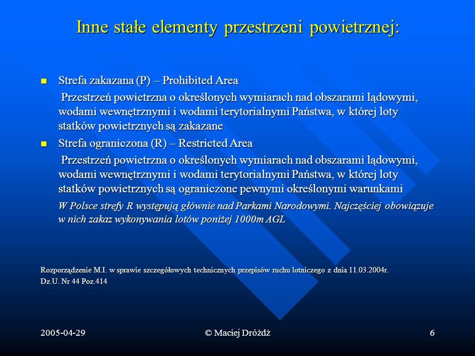 2005-04-29© Maciej Dróżdż6 Inne stałe elementy przestrzeni powietrznej: Strefa zakazana (P) – Prohibited Area Strefa zakazana (P) – Prohibited Area Pr