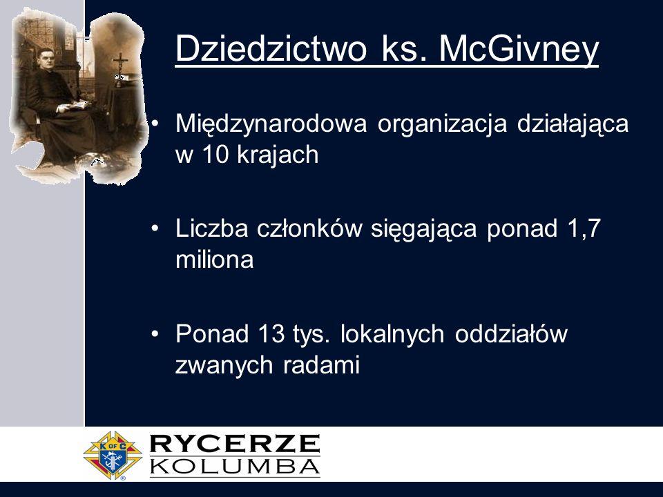Dziedzictwo ks. McGivney Międzynarodowa organizacja działająca w 10 krajach Liczba członków sięgająca ponad 1,7 miliona Ponad 13 tys. lokalnych oddzia