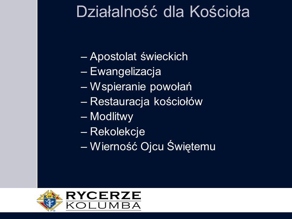 Działalność dla Kościoła –Apostolat świeckich –Ewangelizacja –Wspieranie powołań –Restauracja kościołów –Modlitwy –Rekolekcje –Wierność Ojcu Świętemu