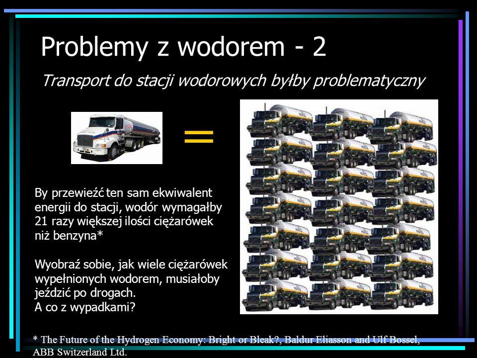 Problemy z wodorem - 2 Transport do stacji wodorowych byłby problematyczny By przewieźć ten sam ekwiwalent energii do stacji, wodór wymagałby 21 razy