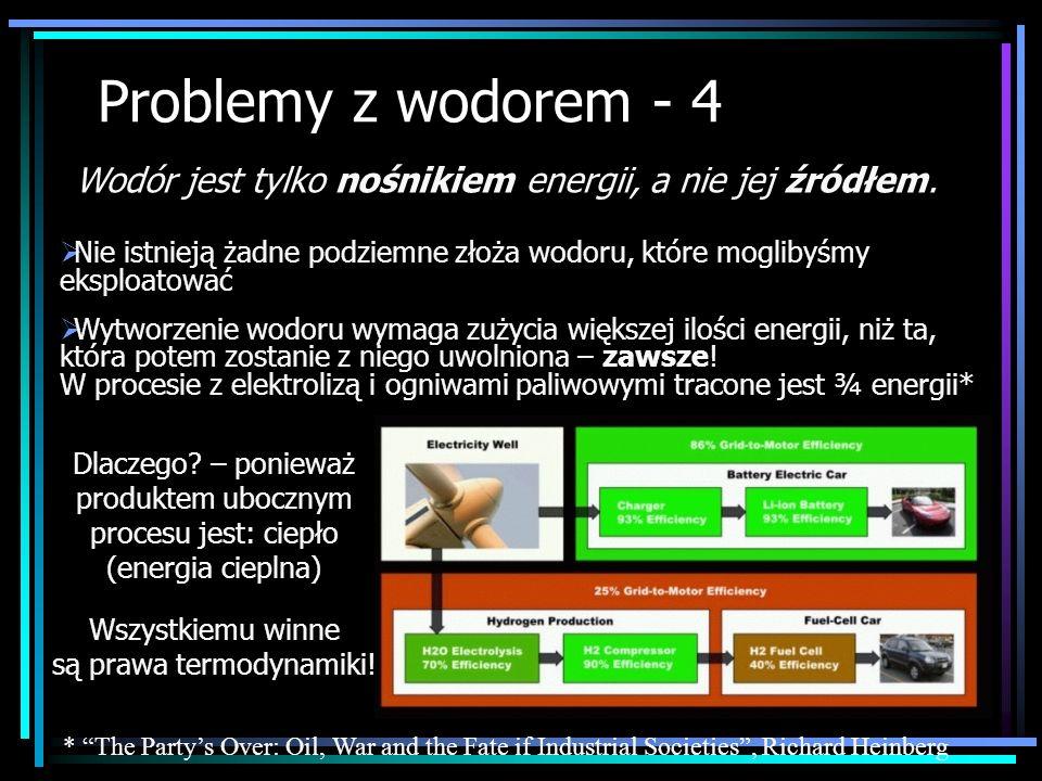 Problemy z wodorem - 4 Nie istnieją żadne podziemne złoża wodoru, które moglibyśmy eksploatować Wytworzenie wodoru wymaga zużycia większej ilości ener