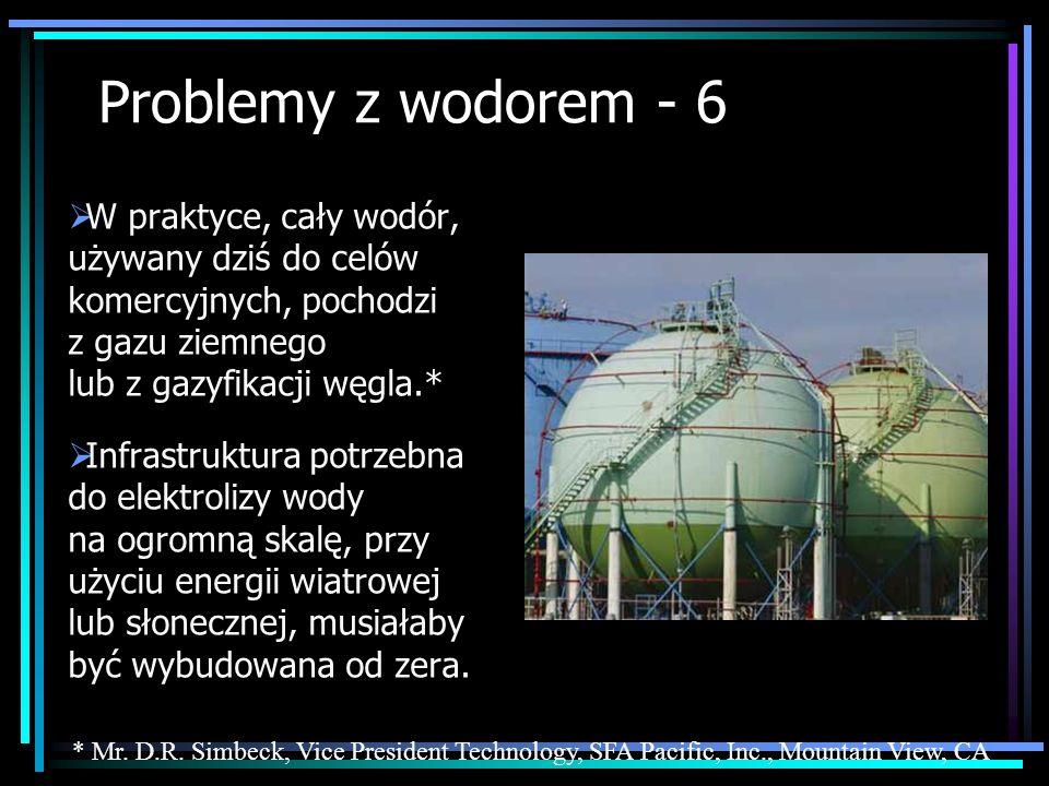 Problemy z wodorem - 6 W praktyce, cały wodór, używany dziś do celów komercyjnych, pochodzi z gazu ziemnego lub z gazyfikacji węgla.* Infrastruktura p