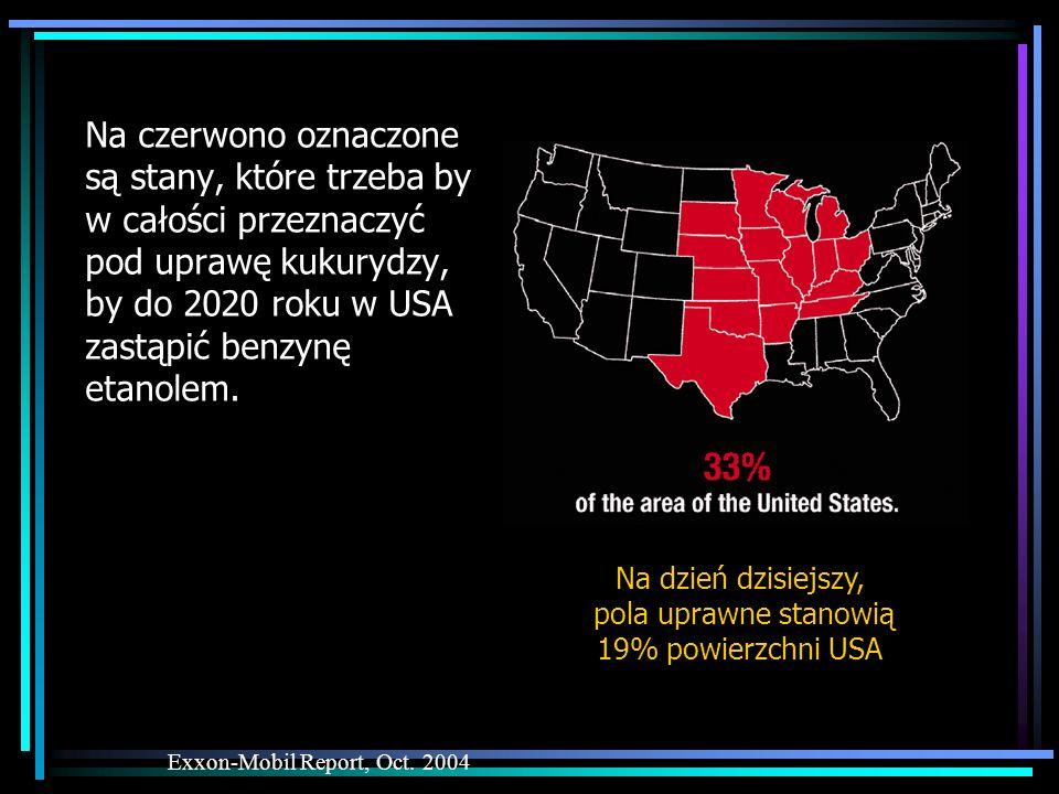 Na czerwono oznaczone są stany, które trzeba by w całości przeznaczyć pod uprawę kukurydzy, by do 2020 roku w USA zastąpić benzynę etanolem. Exxon-Mob