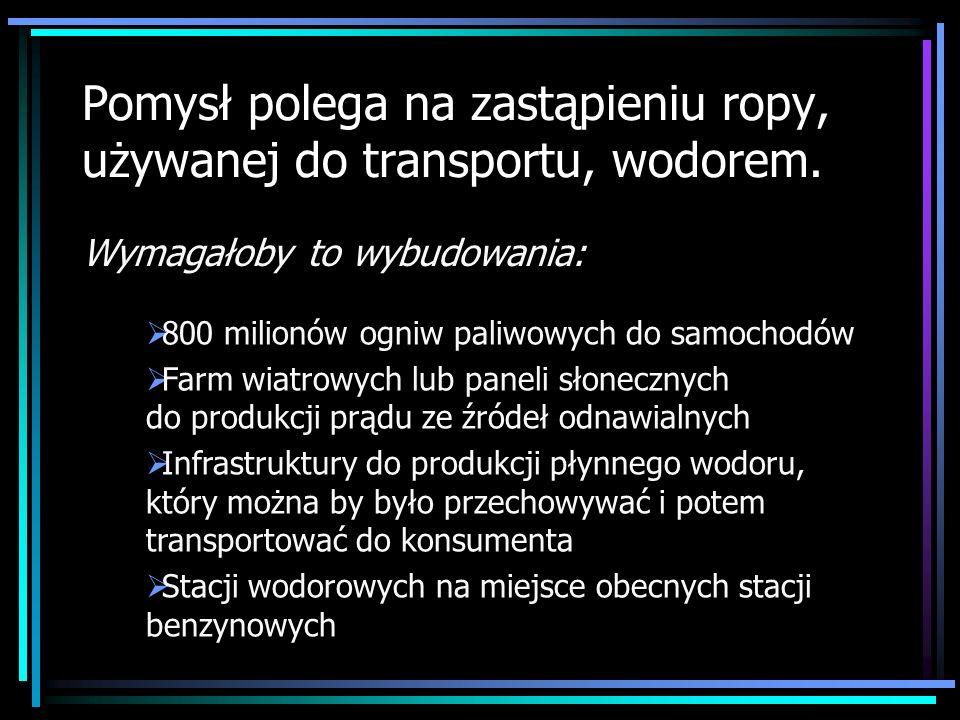 Pomysł polega na zastąpieniu ropy, używanej do transportu, wodorem. Wymagałoby to wybudowania: 800 milionów ogniw paliwowych do samochodów Farm wiatro