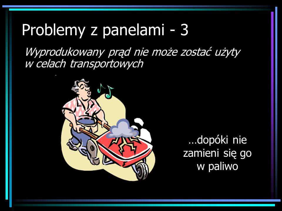 Problemy z panelami - 3 Wyprodukowany prąd nie może zostać użyty w celach transportowych …dopóki nie zamieni się go w paliwo
