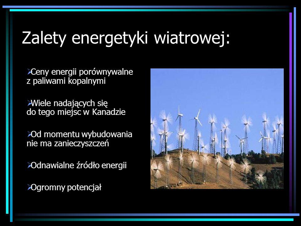 Zalety energetyki wiatrowej: Ceny energii porównywalne z paliwami kopalnymi Wiele nadających się do tego miejsc w Kanadzie Od momentu wybudowania nie