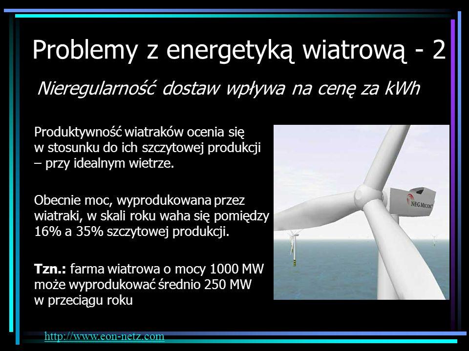 Problemy z energetyką wiatrową - 2 Nieregularność dostaw wpływa na cenę za kWh Produktywność wiatraków ocenia się w stosunku do ich szczytowej produkc
