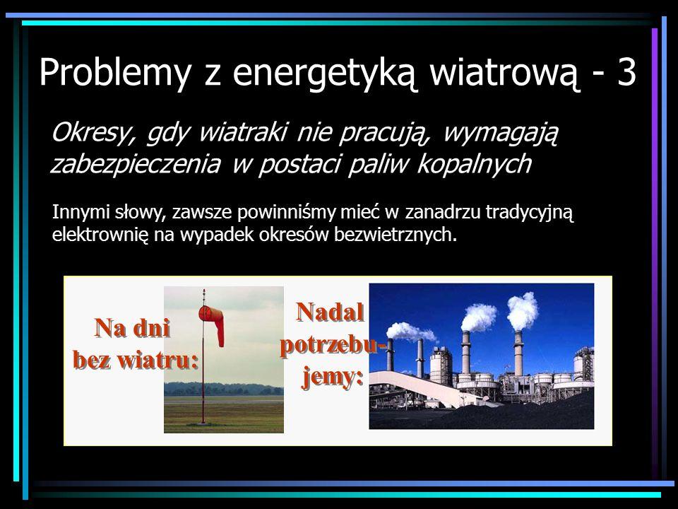 Na dni bez wiatru: Problemy z energetyką wiatrową - 3 Okresy, gdy wiatraki nie pracują, wymagają zabezpieczenia w postaci paliw kopalnych Innymi słowy