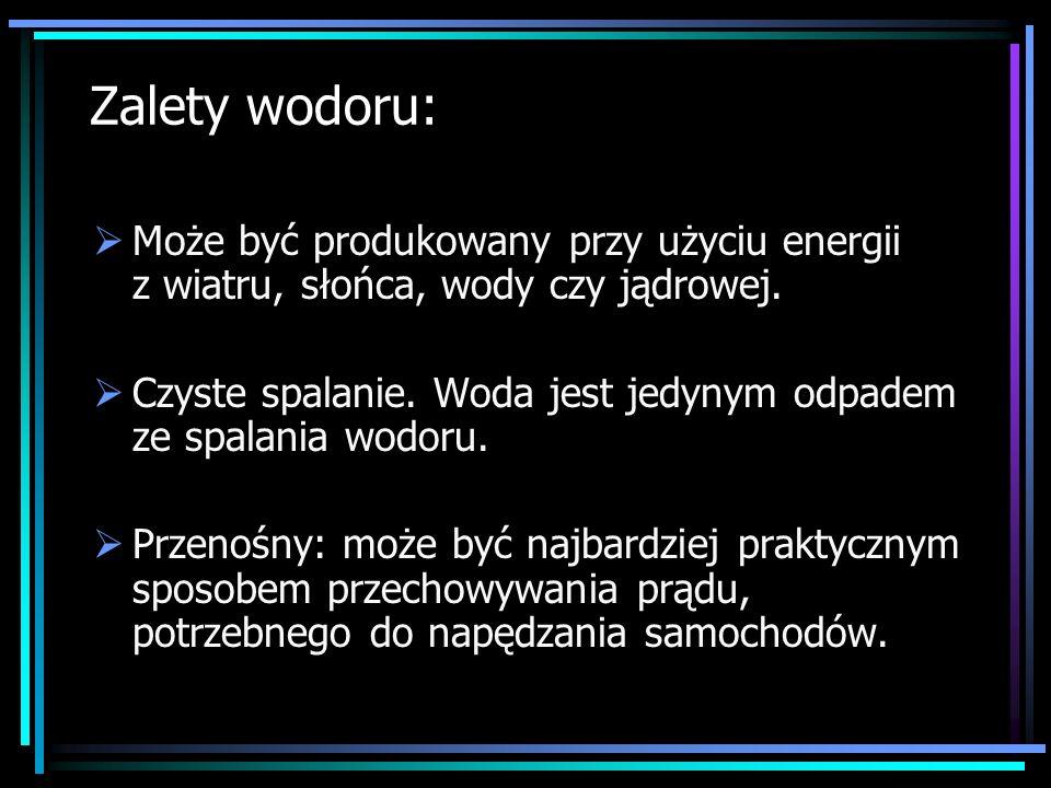 Zalety wodoru: Może być produkowany przy użyciu energii z wiatru, słońca, wody czy jądrowej. Czyste spalanie. Woda jest jedynym odpadem ze spalania wo