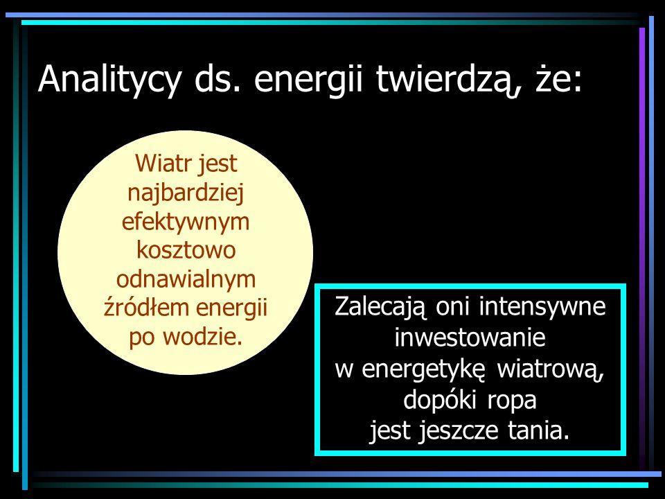Analitycy ds. energii twierdzą, że: Wiatr jest najbardziej efektywnym kosztowo odnawialnym źródłem energii po wodzie. Zalecają oni intensywne inwestow