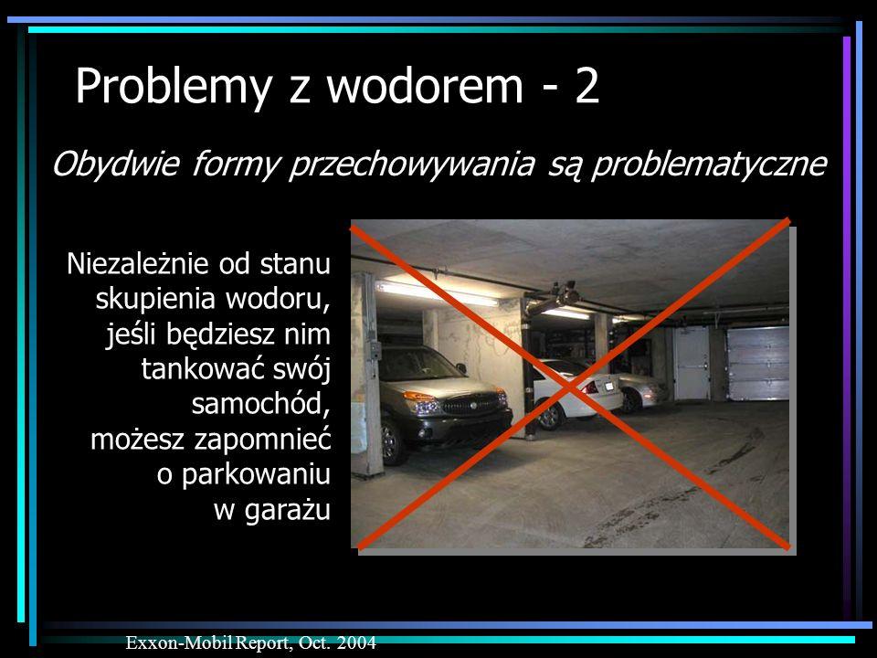Problemy z wodorem - 2 Obydwie formy przechowywania są problematyczne Exxon-Mobil Report, Oct. 2004 Niezależnie od stanu skupienia wodoru, jeśli będzi