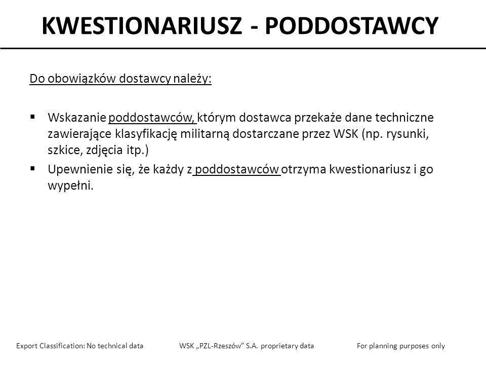 KWESTIONARIUSZ - PODDOSTAWCY Do obowiązków dostawcy należy: Wskazanie poddostawców, którym dostawca przekaże dane techniczne zawierające klasyfikację
