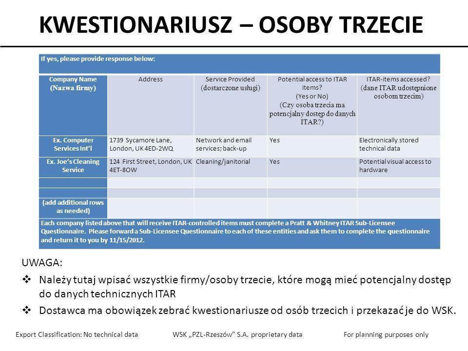 KWESTIONARIUSZ – OSOBY TRZECIE If yes, please provide response below: Company Name (Nazwa firmy) AddressService Provided (dostarczone usługi) Potentia