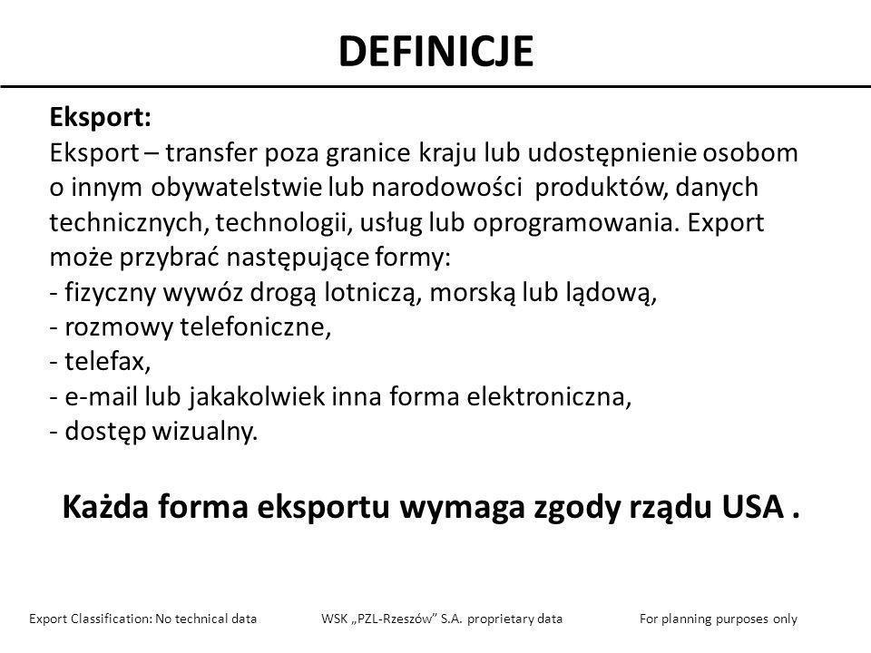 DEFINICJE Eksport: Eksport – transfer poza granice kraju lub udostępnienie osobom o innym obywatelstwie lub narodowości produktów, danych technicznych