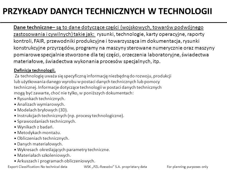 PRZYKŁADY DANYCH TECHNICZNYCH W TECHNOLOGII Dane techniczne– są to dane dotyczące części (wojskowych, towarów podwójnego zastosowania i cywilnych) tak