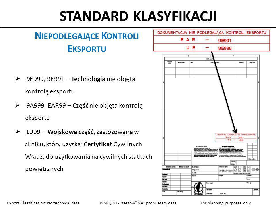 STANDARD KLASYFIKACJI N IEPODLEGAJĄCE K ONTROLI E KSPORTU 9E999, 9E991 – Technologia nie objęta kontrolą eksportu 9A999, EAR99 – Część nie objęta kont