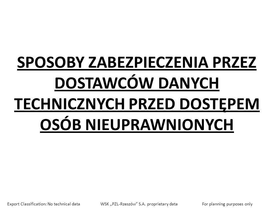 SPOSOBY ZABEZPIECZENIA PRZEZ DOSTAWCÓW DANYCH TECHNICZNYCH PRZED DOSTĘPEM OSÓB NIEUPRAWNIONYCH Export Classification: No technical data WSK PZL-Rzeszó