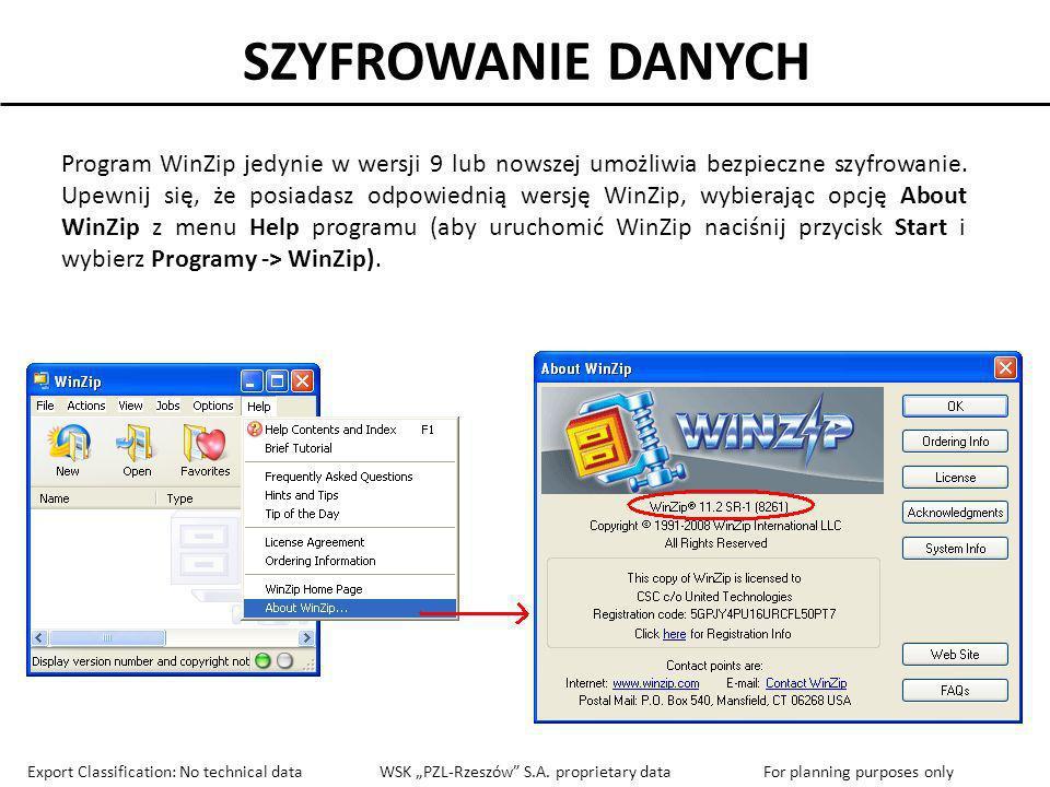 SZYFROWANIE DANYCH Program WinZip jedynie w wersji 9 lub nowszej umożliwia bezpieczne szyfrowanie. Upewnij się, że posiadasz odpowiednią wersję WinZip