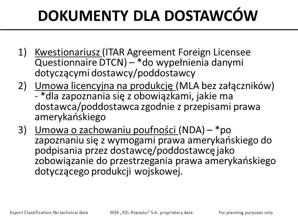 KWESTIONARIUSZ - DANE DOSTAWCY ITAR AGREEMENT FOREIGN SUB-LICENSEE QUESTIONNAIRE Section 1: Basic Information – This section requests basic information related the proposed agreement and your company Information Requested: Please provide response below: Full legal name of your company, as registered with your Government: Nazwa dostawcy Physical location and mailing address for your company (NO Post Office Boxes): Adres głównej siedziby firmy dostawcy Are there other locations of your company that will receive ITAR-controlled items under the program.