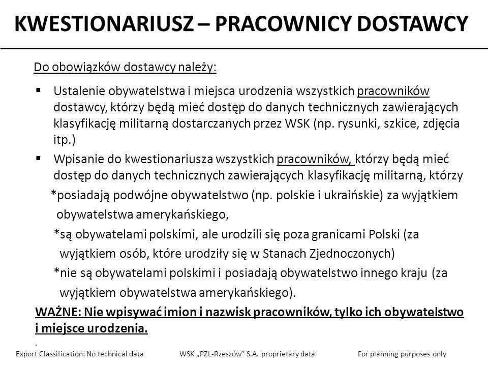 KWESTIONARIUSZ – PRACOWNICY DOSTAWCY If yes, please provide response below: Employee Reference Number (numer porządkowy) Citizenship No.