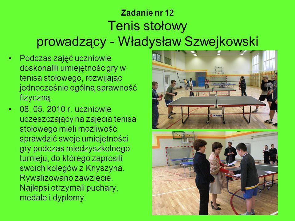 Zadanie nr 12 Tenis stołowy prowadzący - Władysław Szwejkowski Podczas zajęć uczniowie doskonalili umiejętność gry w tenisa stołowego, rozwijając jedn