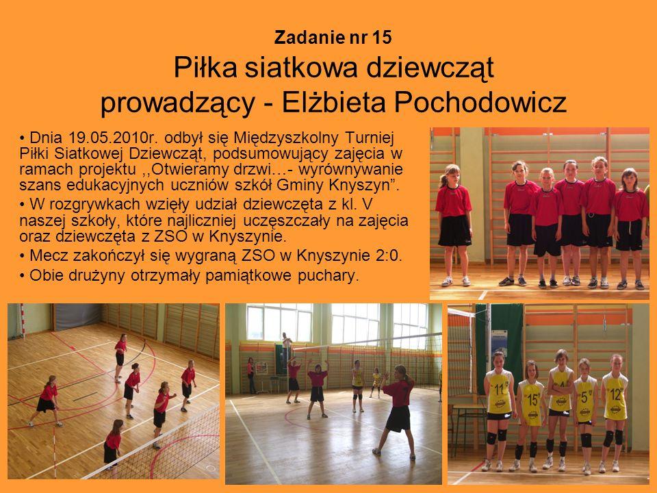 Zadanie nr 15 Piłka siatkowa dziewcząt prowadzący - Elżbieta Pochodowicz Dnia 19.05.2010r. odbył się Międzyszkolny Turniej Piłki Siatkowej Dziewcząt,