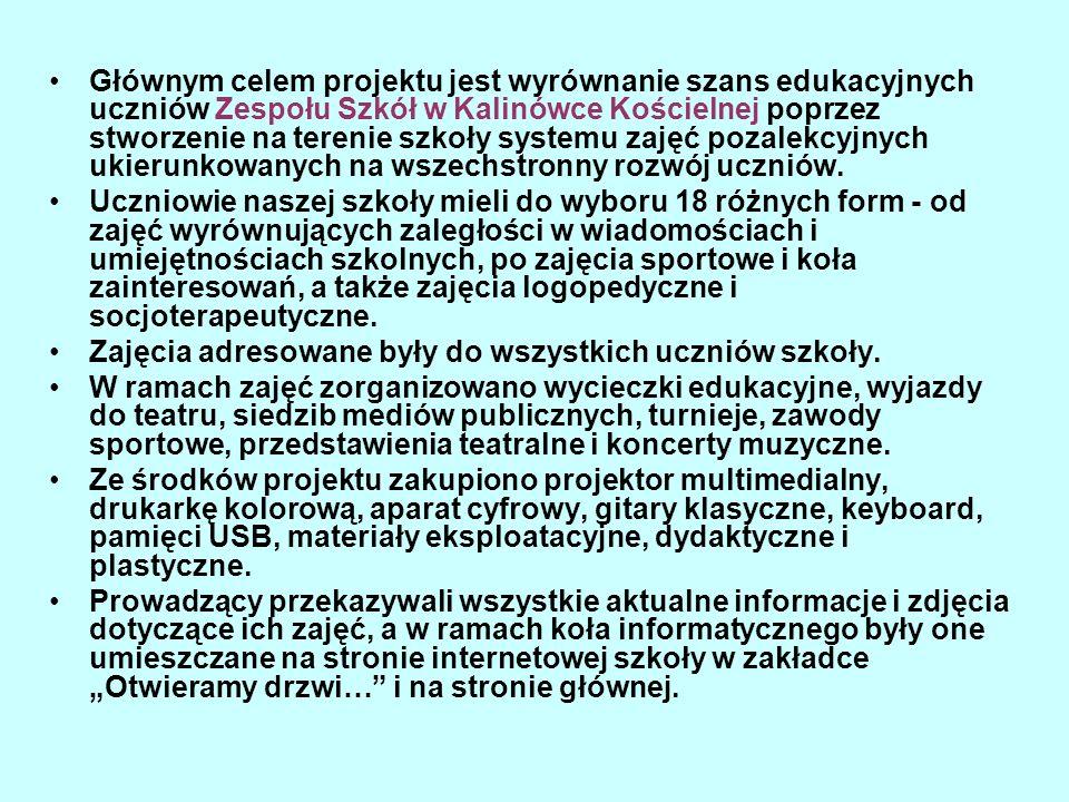 Zadanie nr 11 Koło informatyczne prowadzący - Władysław Szwejkowski Uczniowie poznawali tajniki tworzenia strony internetowej na przykładzie witryny naszej szkoły, techniki obróbki zdjęć i formatowania tekstu.