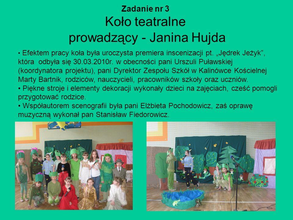 Zadanie nr 3 Koło teatralne prowadzący - Janina Hujda Efektem pracy koła była uroczysta premiera inscenizacji pt. Jędrek Jeżyk, która odbyła się 30.03