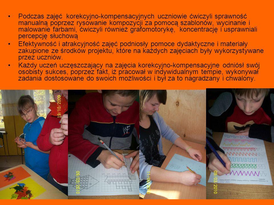 Zadanie nr 6 Zajęcia wyrównawcze klas I-III prowadzący - Elżbieta Zaworska Zajęcia poświęcone były głównie umiejętności pisania poprzez ćwiczenia ortograficzne, ćwiczenia płynności i tempa pisania oraz redagowania zdań.