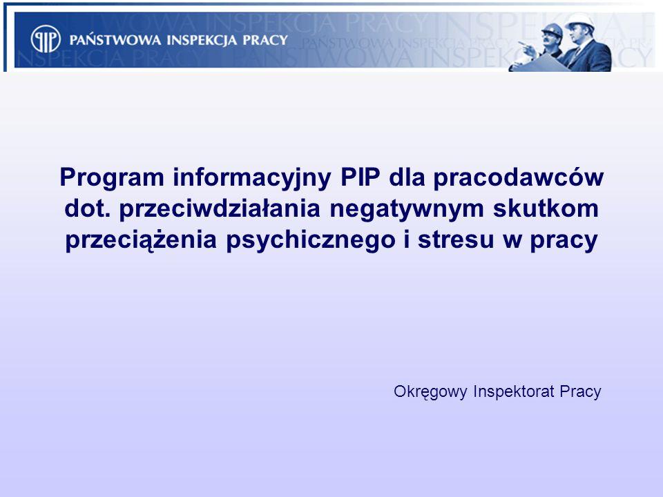 Program informacyjny PIP dla pracodawców dot. przeciwdziałania negatywnym skutkom przeciążenia psychicznego i stresu w pracy Okręgowy Inspektorat Prac