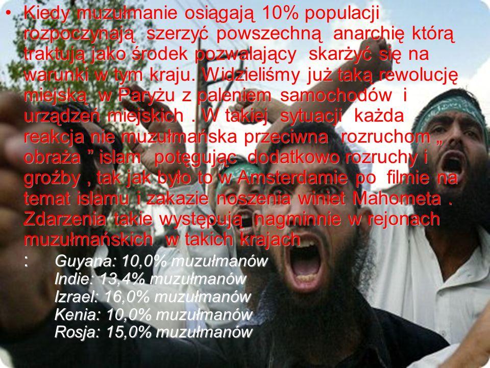 Kiedy muzułmanie osiągają 10% populacji rozpoczynają szerzyć powszechną anarchię którą traktują jako środek pozwalający skarżyć się na warunki w tym k