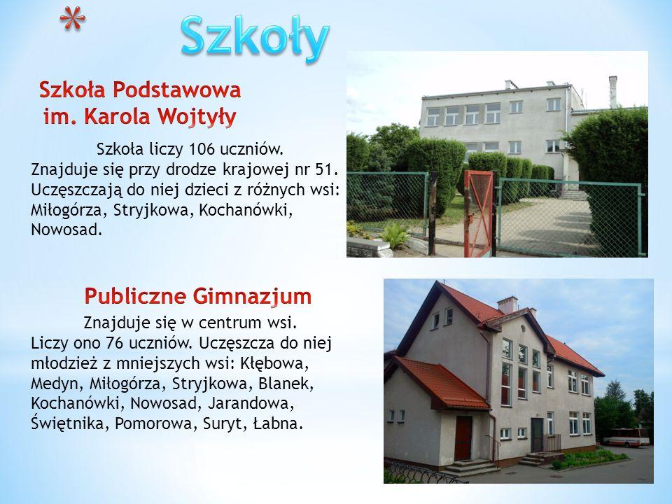 Szkoła liczy 106 uczniów. Znajduje się przy drodze krajowej nr 51. Uczęszczają do niej dzieci z różnych wsi: Miłogórza, Stryjkowa, Kochanówki, Nowosad