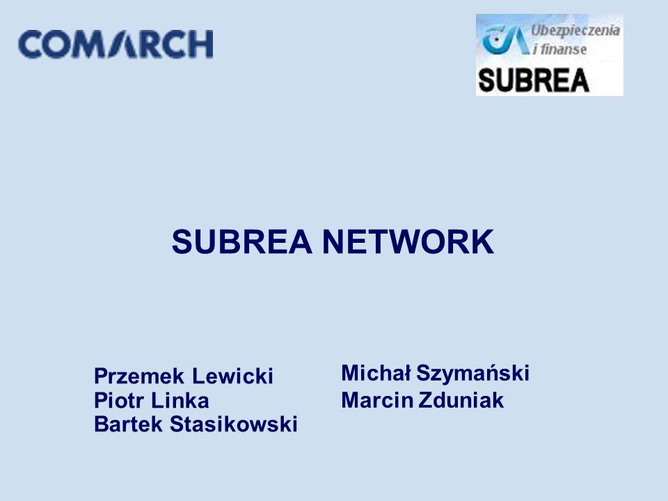 SUBREA NETWORK Przemek Lewicki Piotr Linka Bartek Stasikowski Michał Szymański Marcin Zduniak