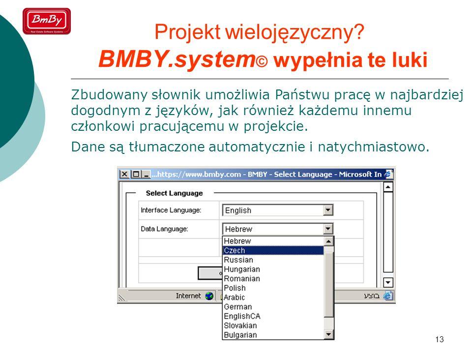 13 Projekt wielojęzyczny? BMBY.system © wypełnia te luki Zbudowany słownik umożliwia Państwu pracę w najbardziej dogodnym z języków, jak również każde