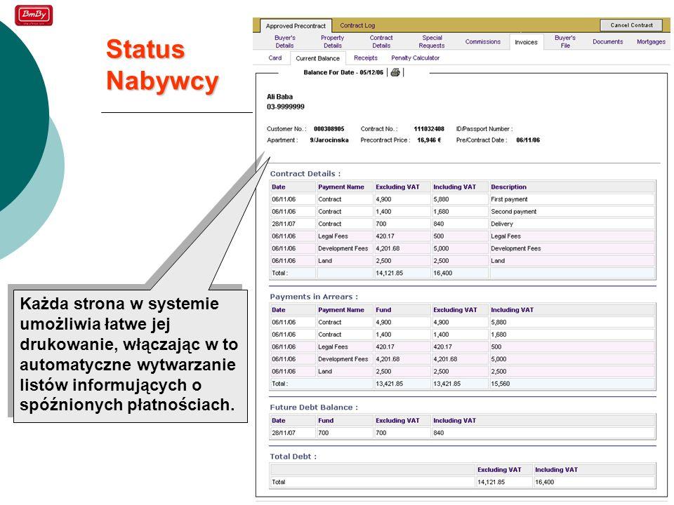 19 Status Nabywcy Każda strona w systemie umożliwia łatwe jej drukowanie, włączając w to automatyczne wytwarzanie listów informujących o spóźnionych p