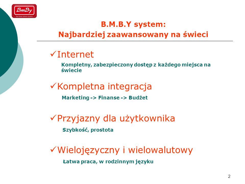 2 B.M.B.Y system: Najbardziej zaawansowany na świeci Internet Kompletna integracja Przyjazny dla użytkownika Wielojęzyczny i wielowalutowy Kompletny,