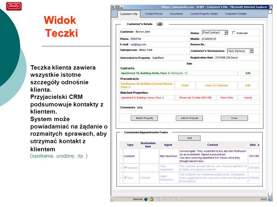 20 Widok Teczki Teczka klienta zawiera wszystkie istotne szczegóły odnośnie klienta. Przyjacielski CRM podsumowuje kontakty z klientem. System może po