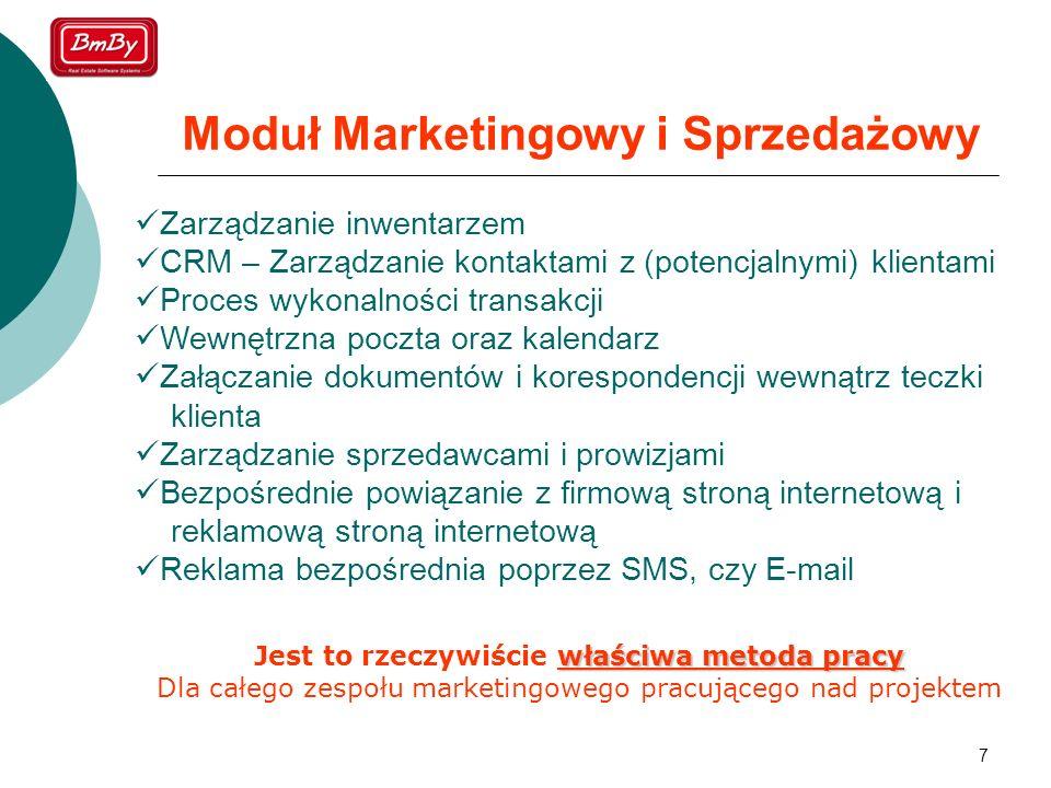 7 Moduł Marketingowy i Sprzedażowy Zarządzanie inwentarzem CRM – Zarządzanie kontaktami z (potencjalnymi) klientami Proces wykonalności transakcji Wew