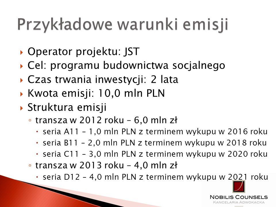 Operator projektu: JST Cel: programu budownictwa socjalnego Czas trwania inwestycji: 2 lata Kwota emisji: 10,0 mln PLN Struktura emisji transza w 2012