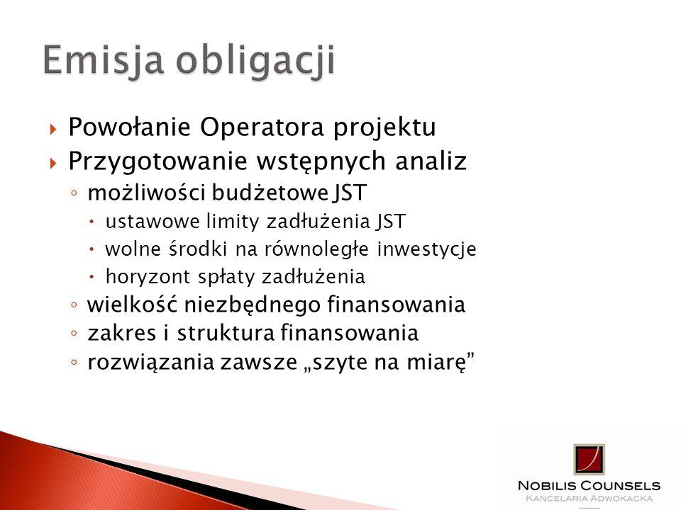 Powołanie Operatora projektu Przygotowanie wstępnych analiz możliwości budżetowe JST ustawowe limity zadłużenia JST wolne środki na równoległe inwesty