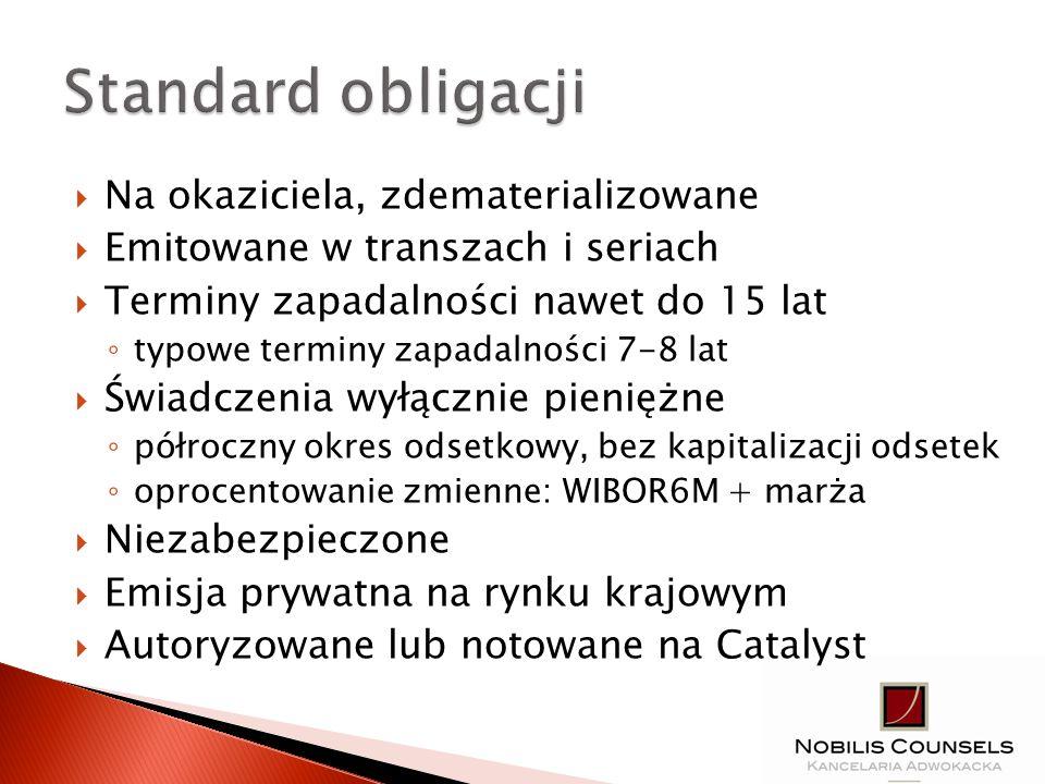 Operator projektu: JST Cel: programu budownictwa socjalnego Czas trwania inwestycji: 2 lata Kwota emisji: 10,0 mln PLN Struktura emisji transza w 2012 roku – 6,0 mln zł seria A11 – 1,0 mln PLN z terminem wykupu w 2016 roku seria B11 – 2,0 mln PLN z terminem wykupu w 2018 roku seria C11 – 3,0 mln PLN z terminem wykupu w 2020 roku transza w 2013 roku – 4,0 mln zł seria D12 – 4,0 mln PLN z terminem wykupu w 2021 roku
